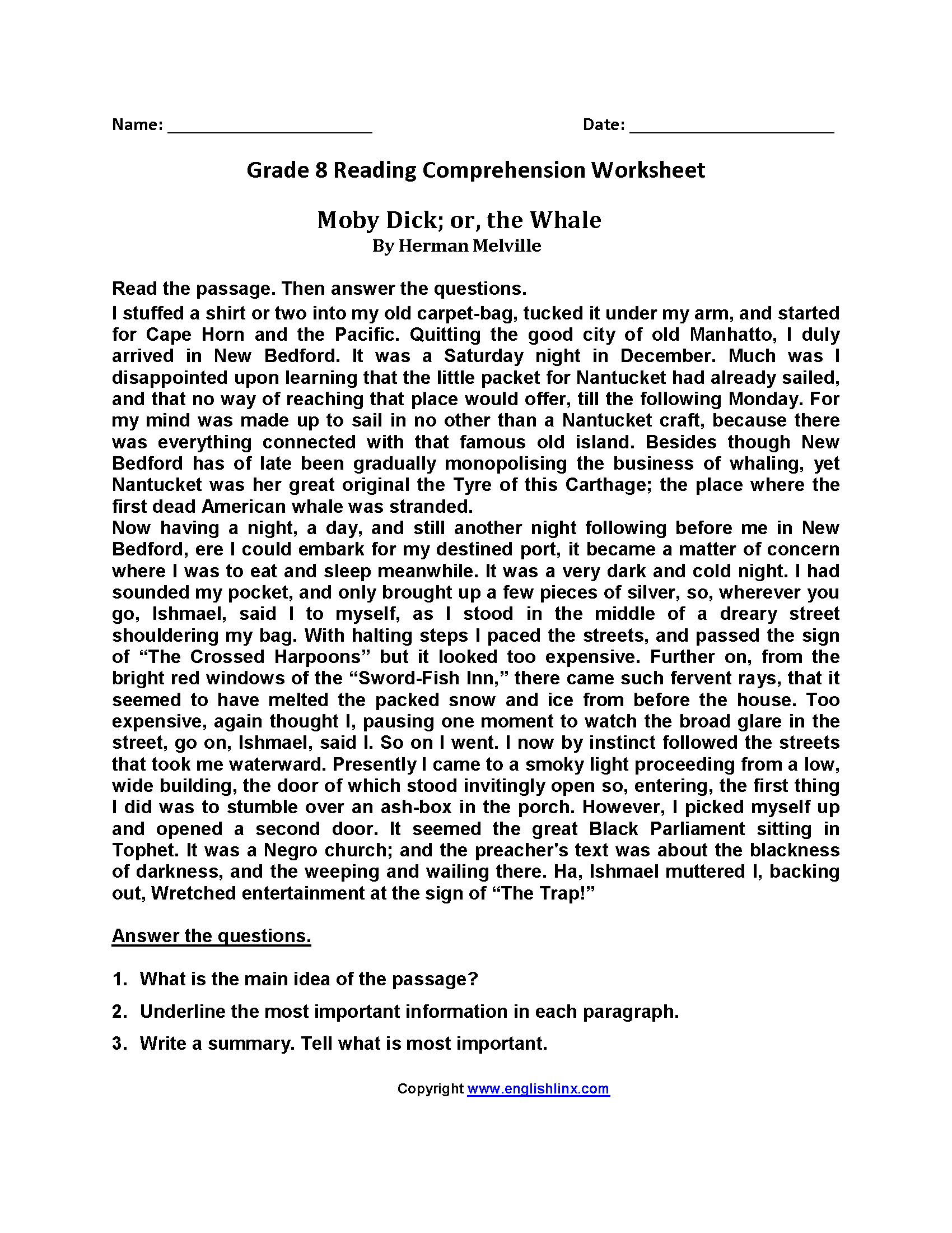 9Th Grade Reading Comprehension Worksheets — db-excel.com