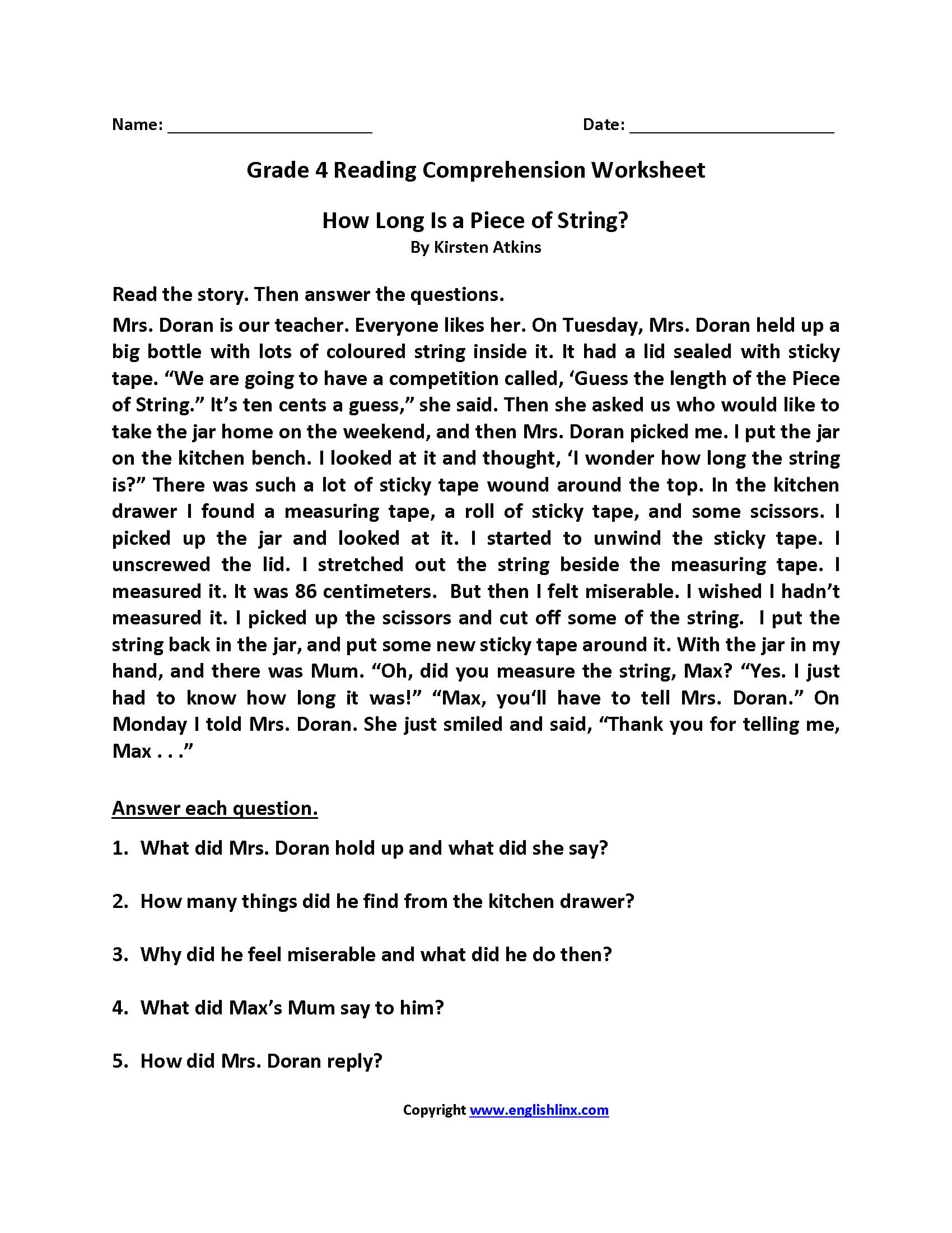 Reading Comprehension Worksheets 4Th Grade — db excel.com
