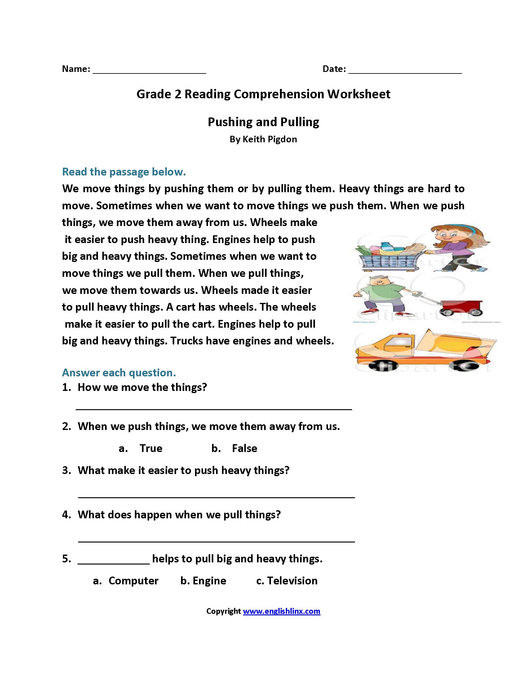 Reading Worksheets  Second Grade Reading Worksheets