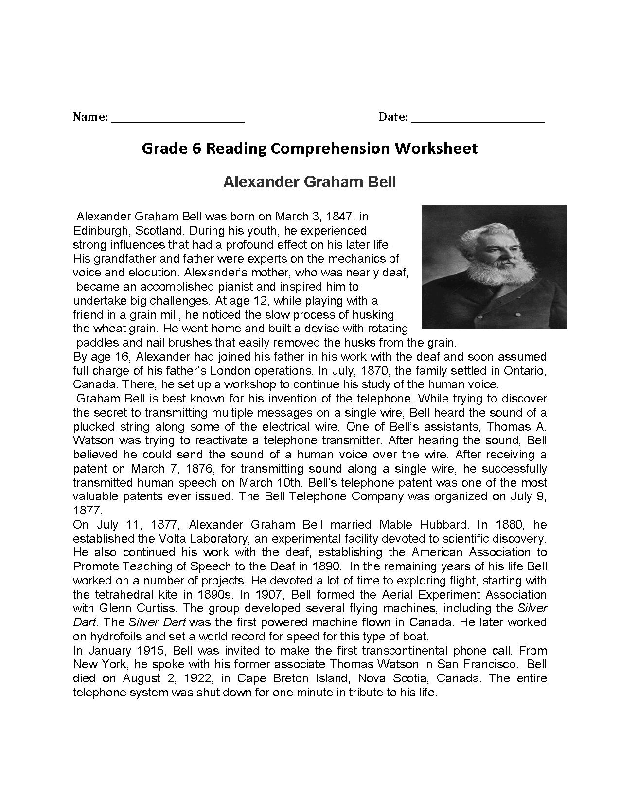 Reading Worksheets Sixth Grade Reading Worksheets — db ...
