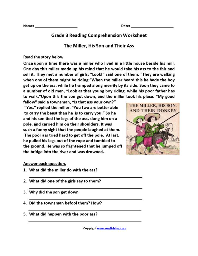 Comprehension Worksheets For Grade 3 — db excel.com