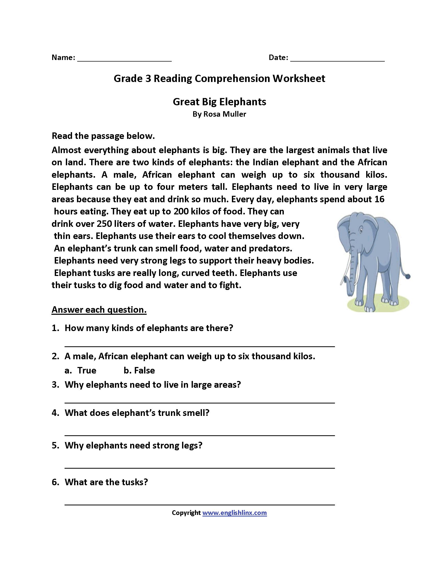 Reading Worksheets Third Grade Reading Worksheets — db ...