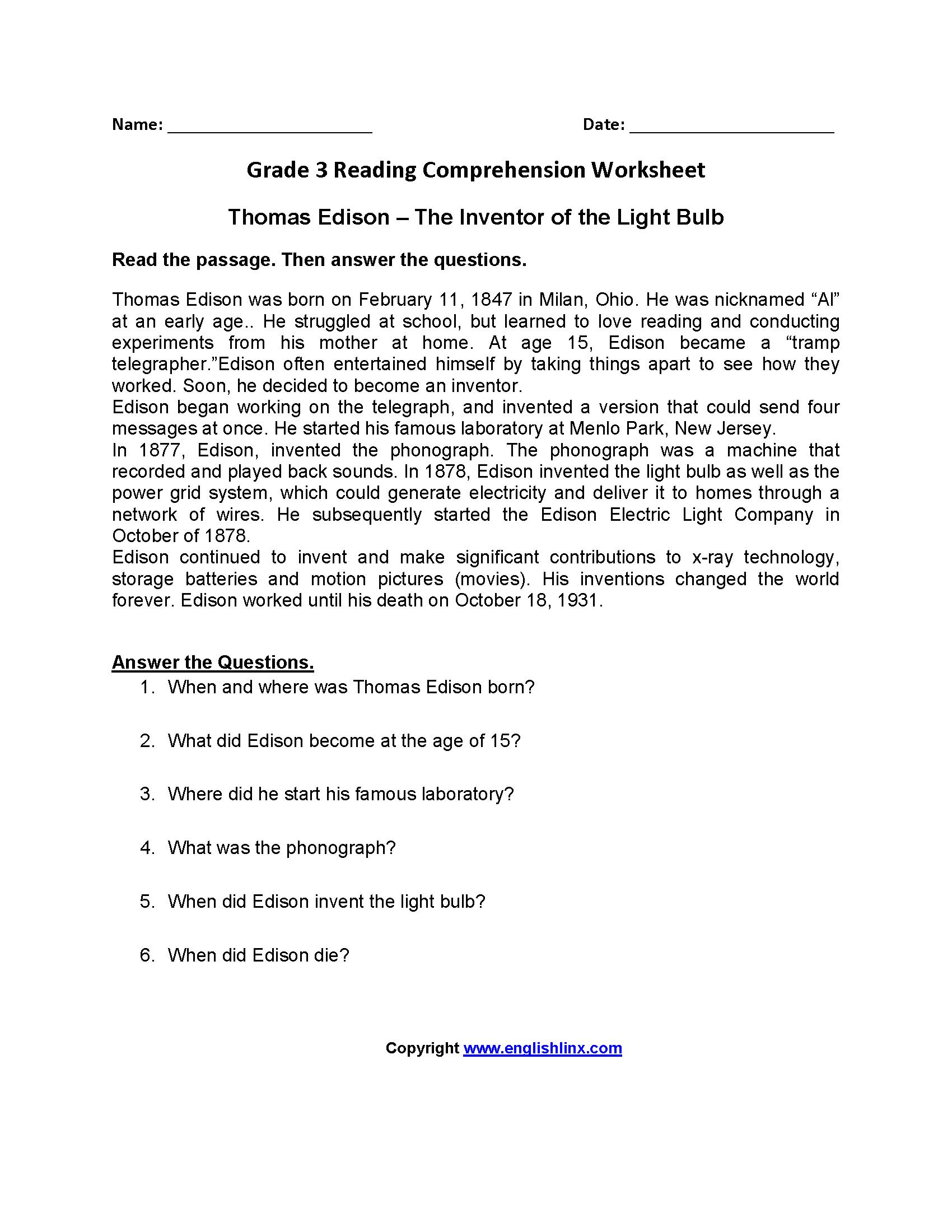 3Rd Grade Reading Worksheets Pdf — db excel.com