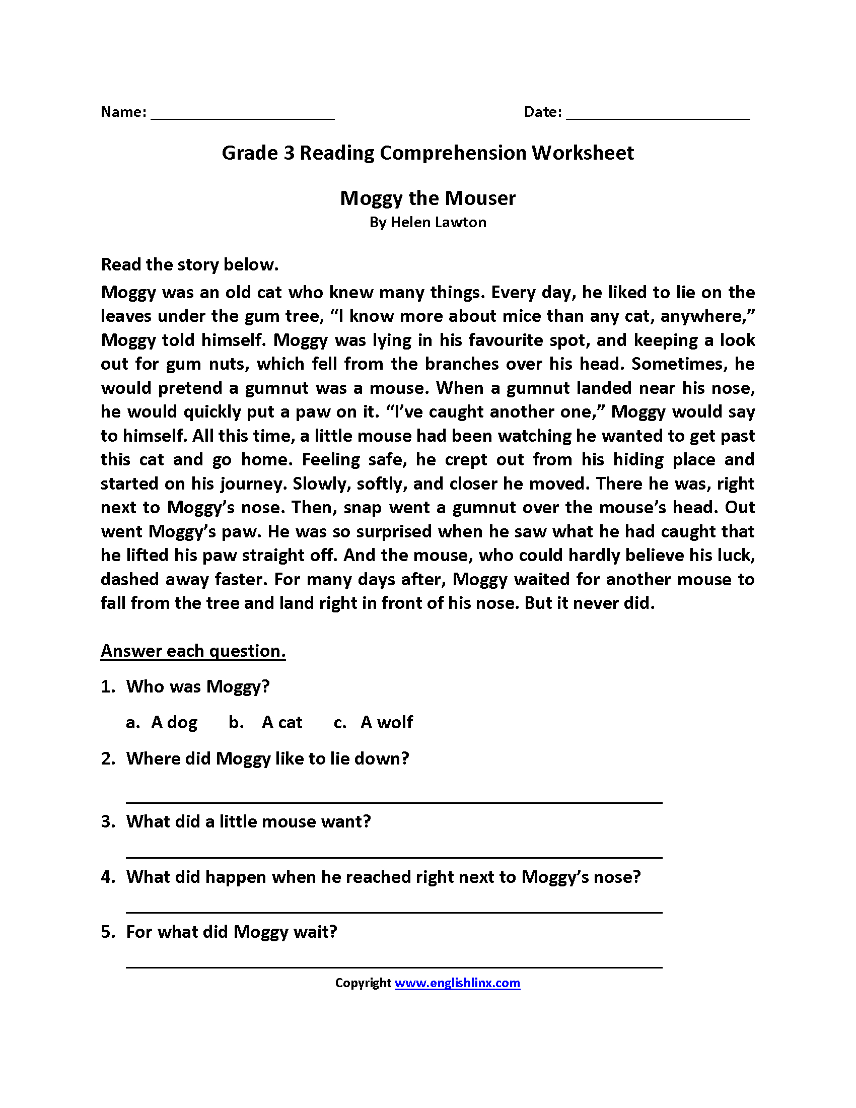 3Rd Grade Reading Comprehension Worksheets Pdf | db-excel.com