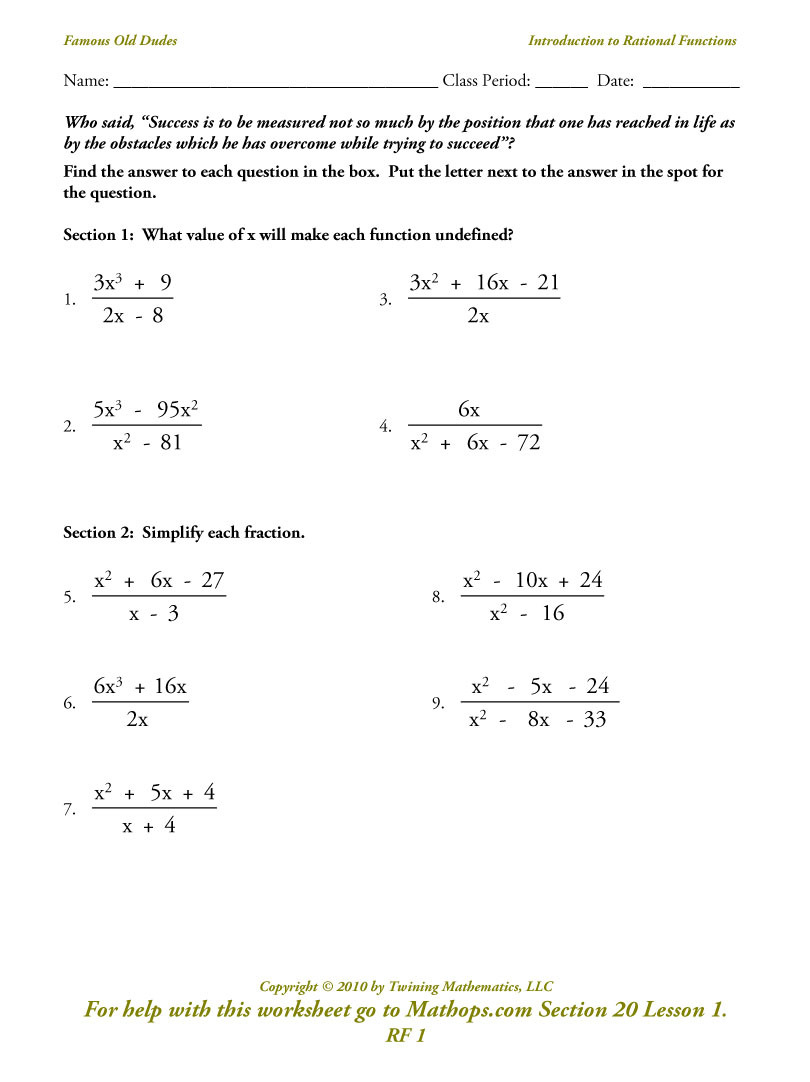 Rf 1 Introduction To Rational Functions  Mathops