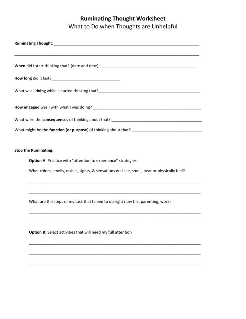 Ruminatingthoughtworksheet