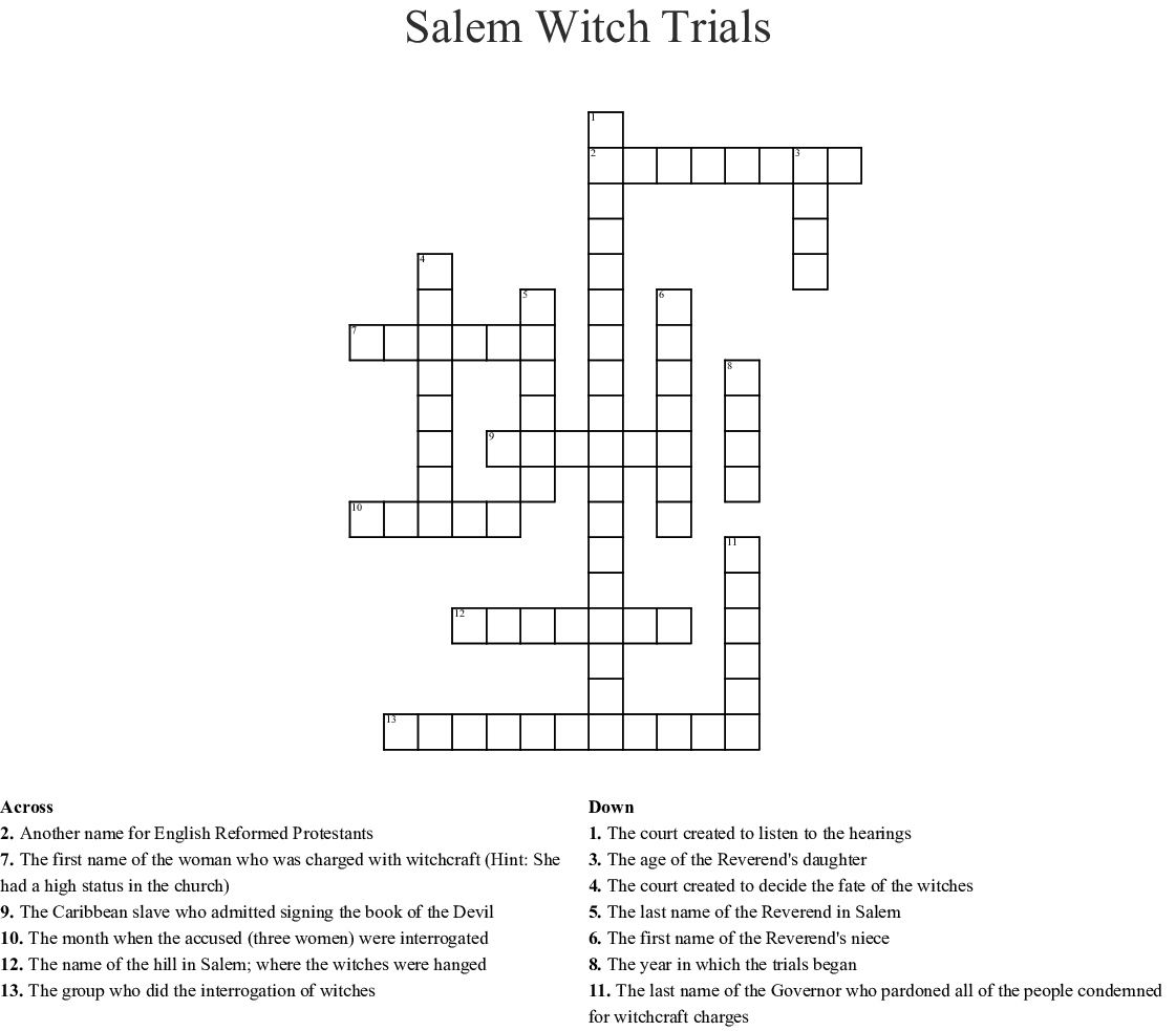 Salem Massachusetts Witch Trials 17Th Century Word Search ...