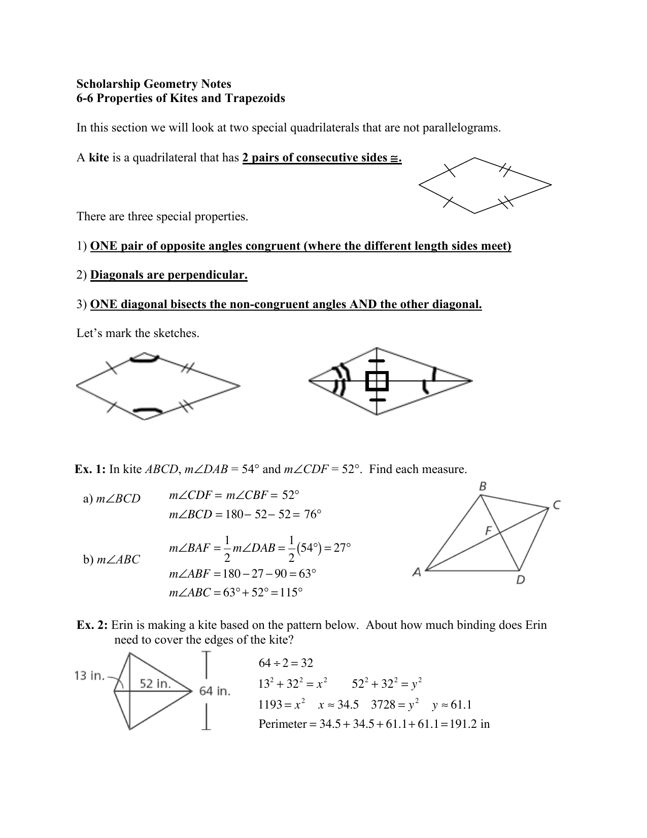 Scholarship Geometry Notes 66 Properties Of Kites And