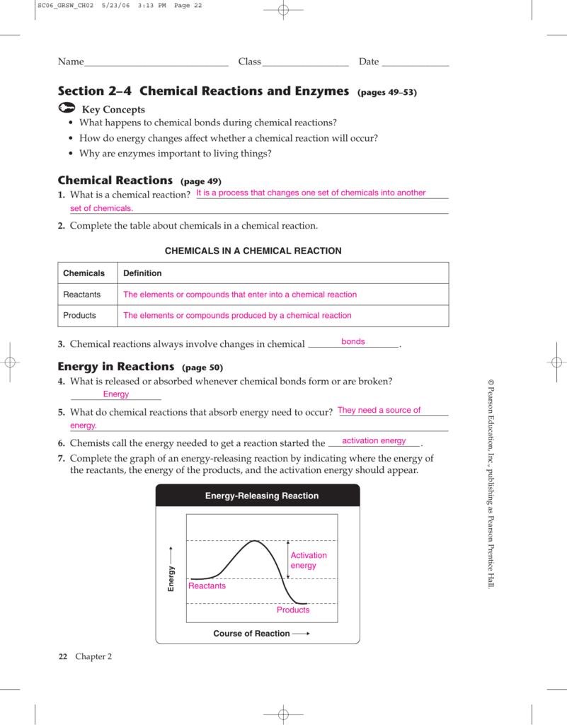 2 4 Chemical Reactions Worksheet Answers   db excel.com