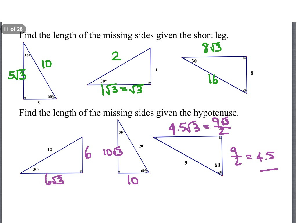 Special Right Triangles Worksheet Answers — db excel.com