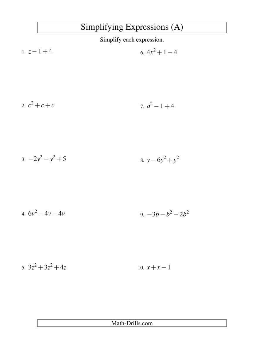 Simplifying Algebraic Expressions Worksheet Answers — db ...