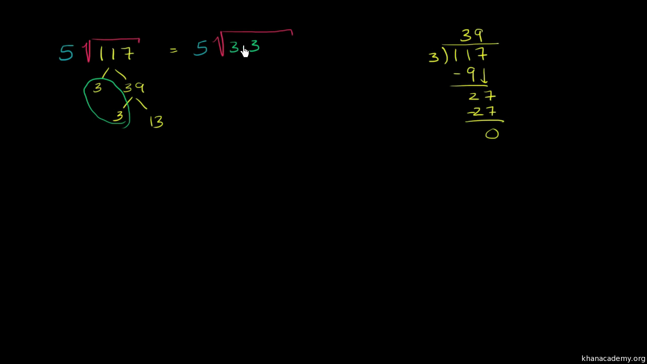 Simplifying Square Roots  Algebra Video  Khan Academy
