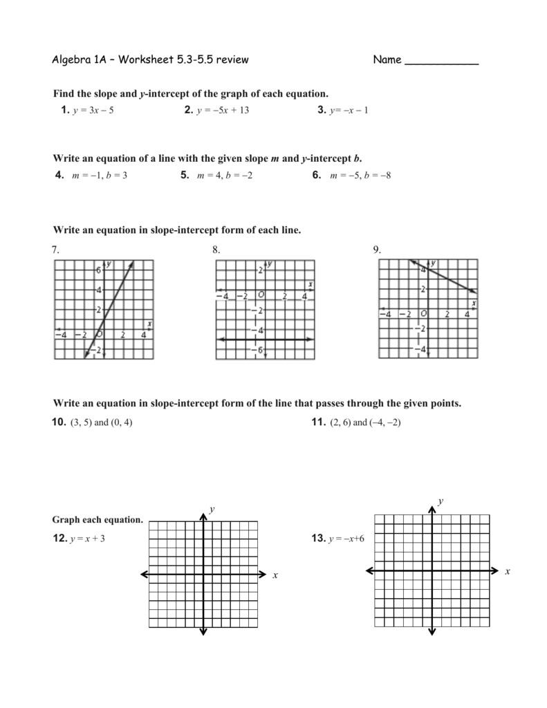 Slope And Y Intercept Worksheet Algebra Worksheets