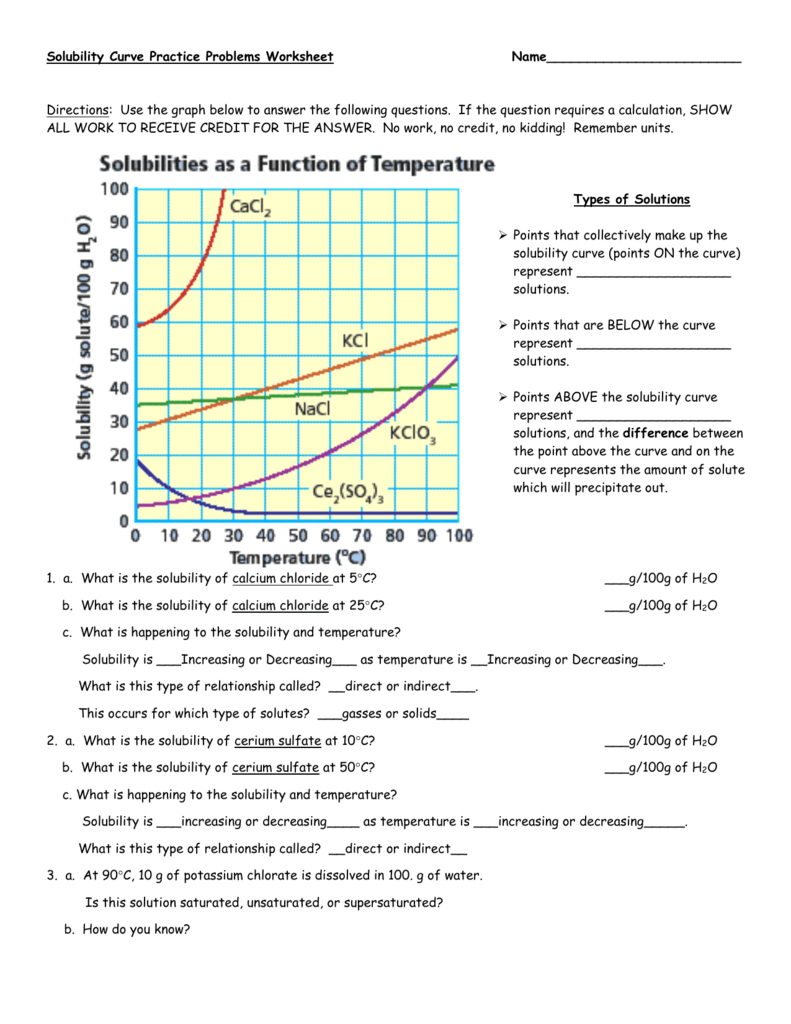 Solubility Curve Practice Problems Worksheet | db-excel.com