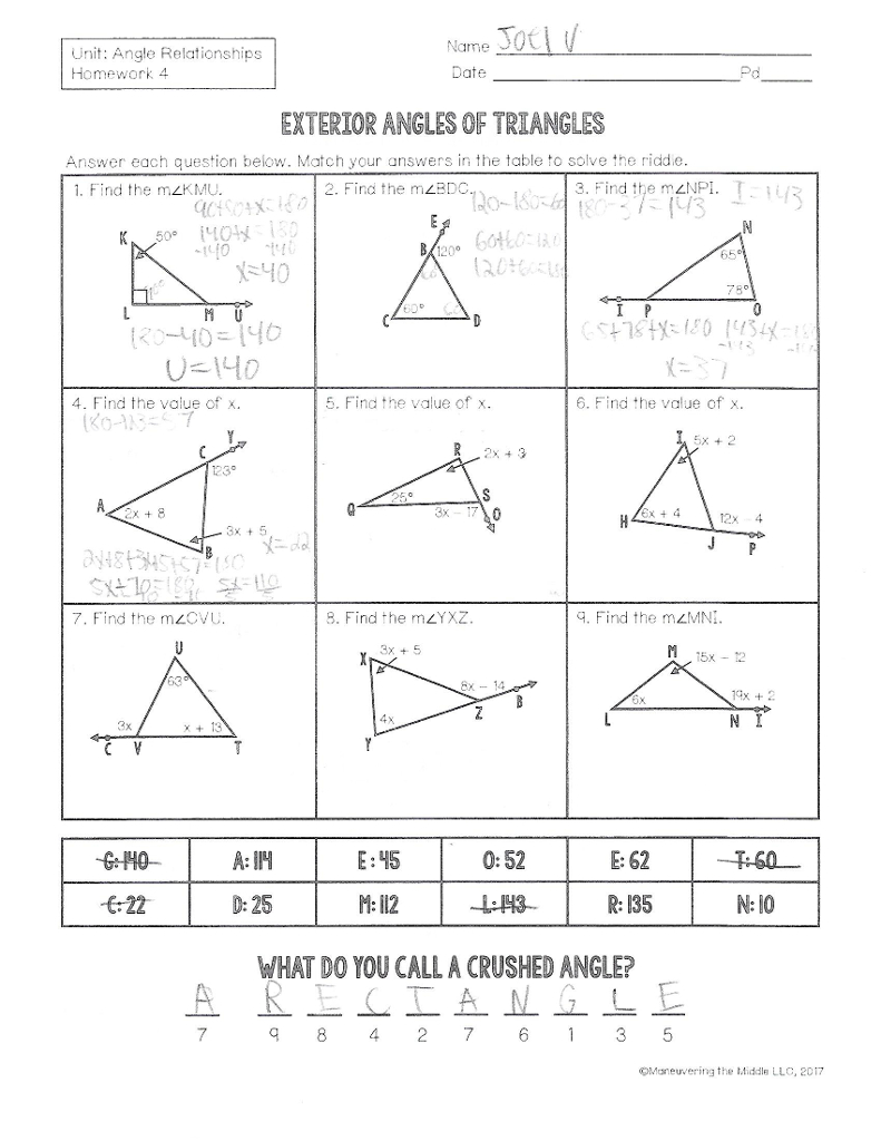Solved Name Unit Angle Relationships Homework 4 Date Pd