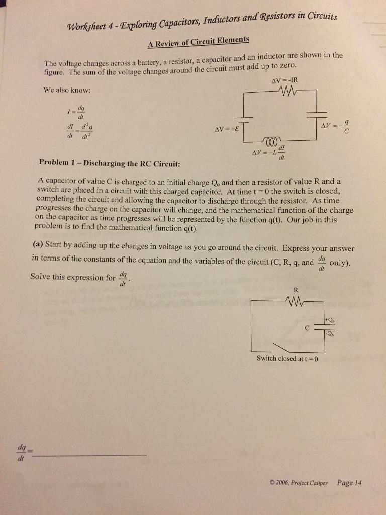 Solved Nd Resistors In Ctrcuits Worksheet 4 Eploring Cap