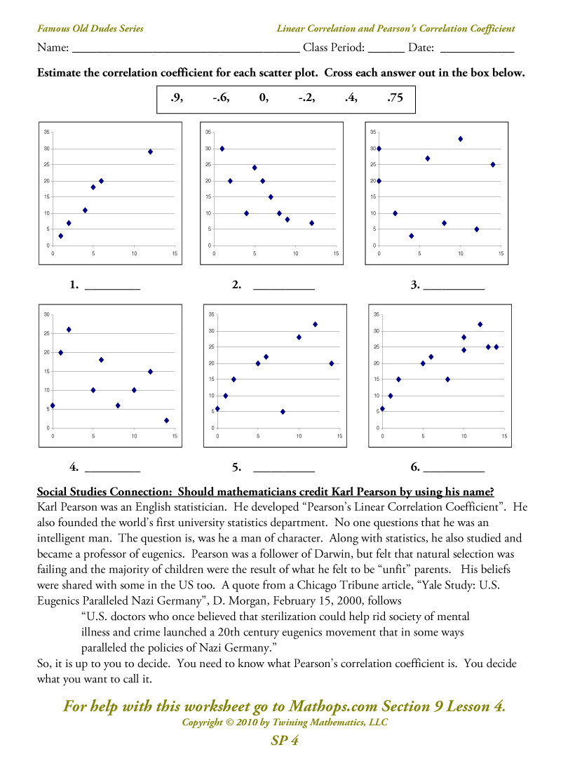 Sp 4 Linear Correlation And Pearson's Correlation