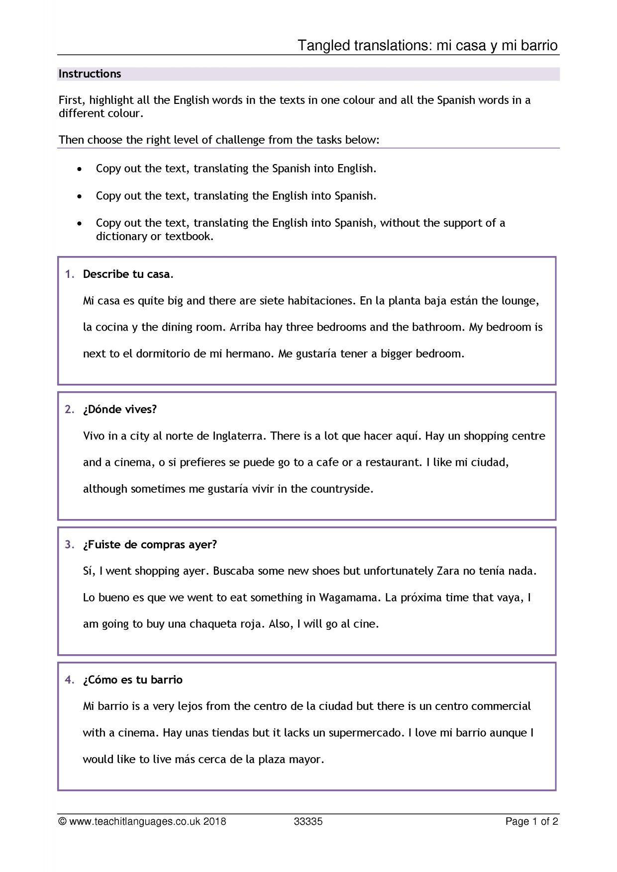 Did You Get It Spanish Worksheet Answers   db excel.com