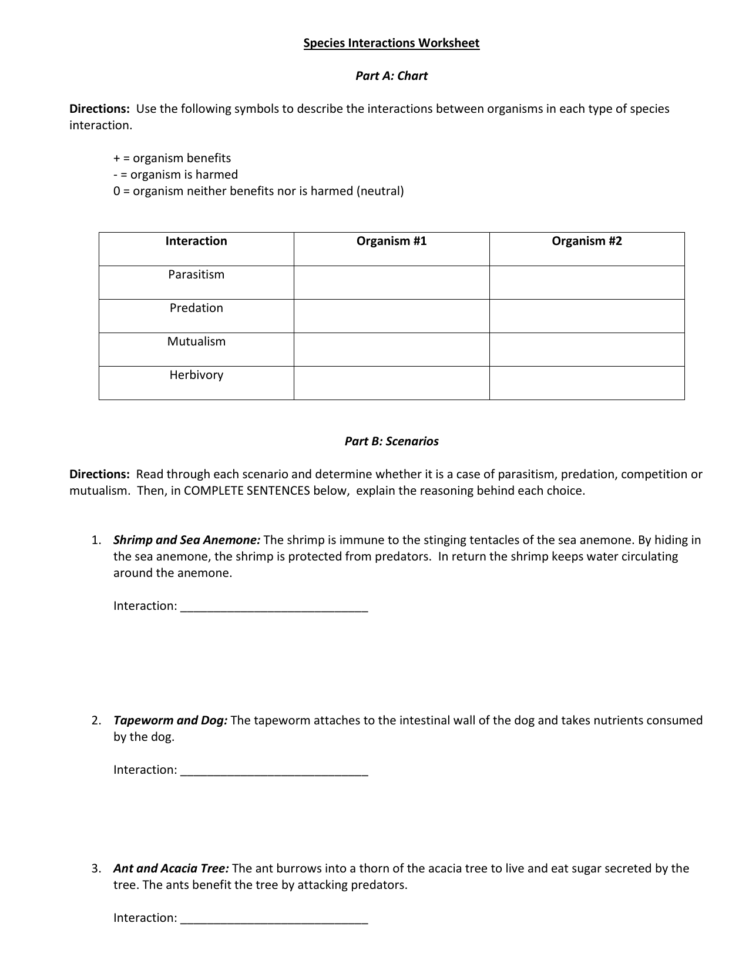 Species Interactions Worksheet Answers — db-excel.com