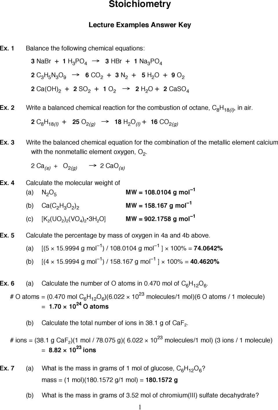 Stoichiometry Lecture Answer Key Pdf — db-excel.com