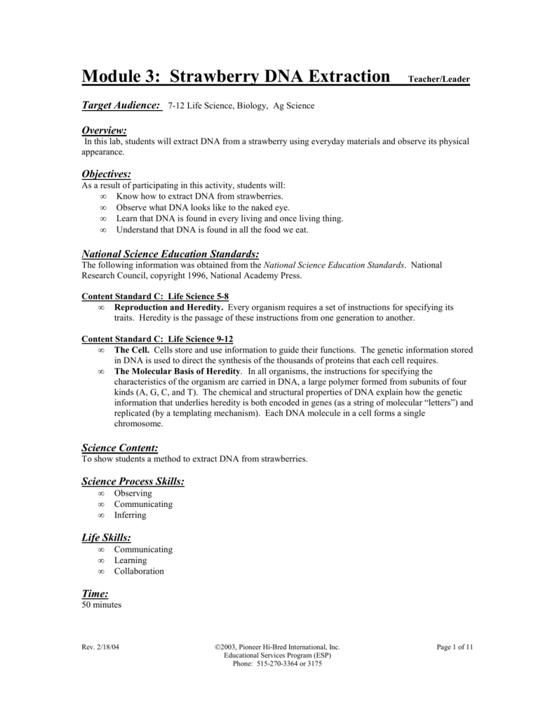 Strawberry Dna Extraction Lab Worksheet | db-excel.com
