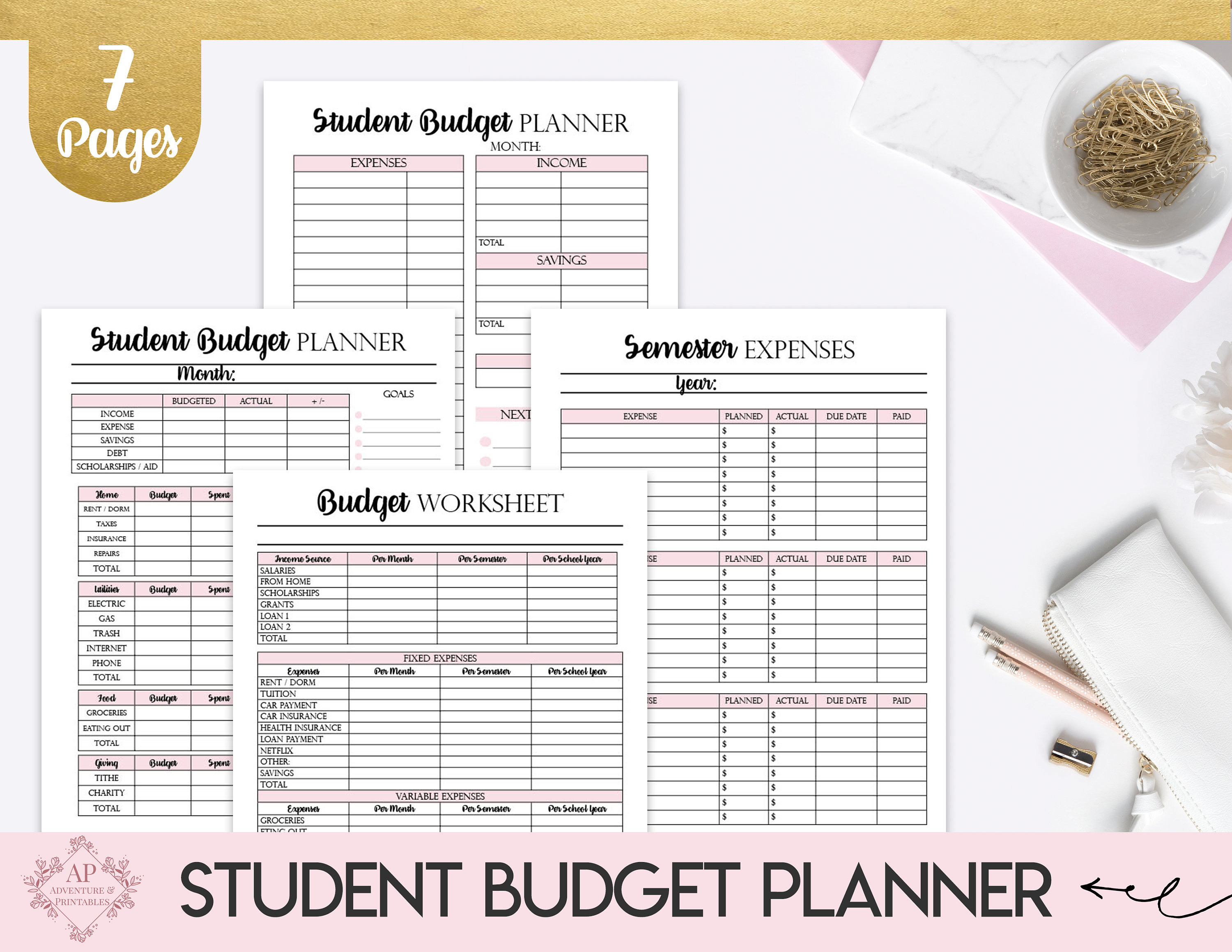 Student Budget Planner Collage Student Budget Worksheet Semester Expenses  List
