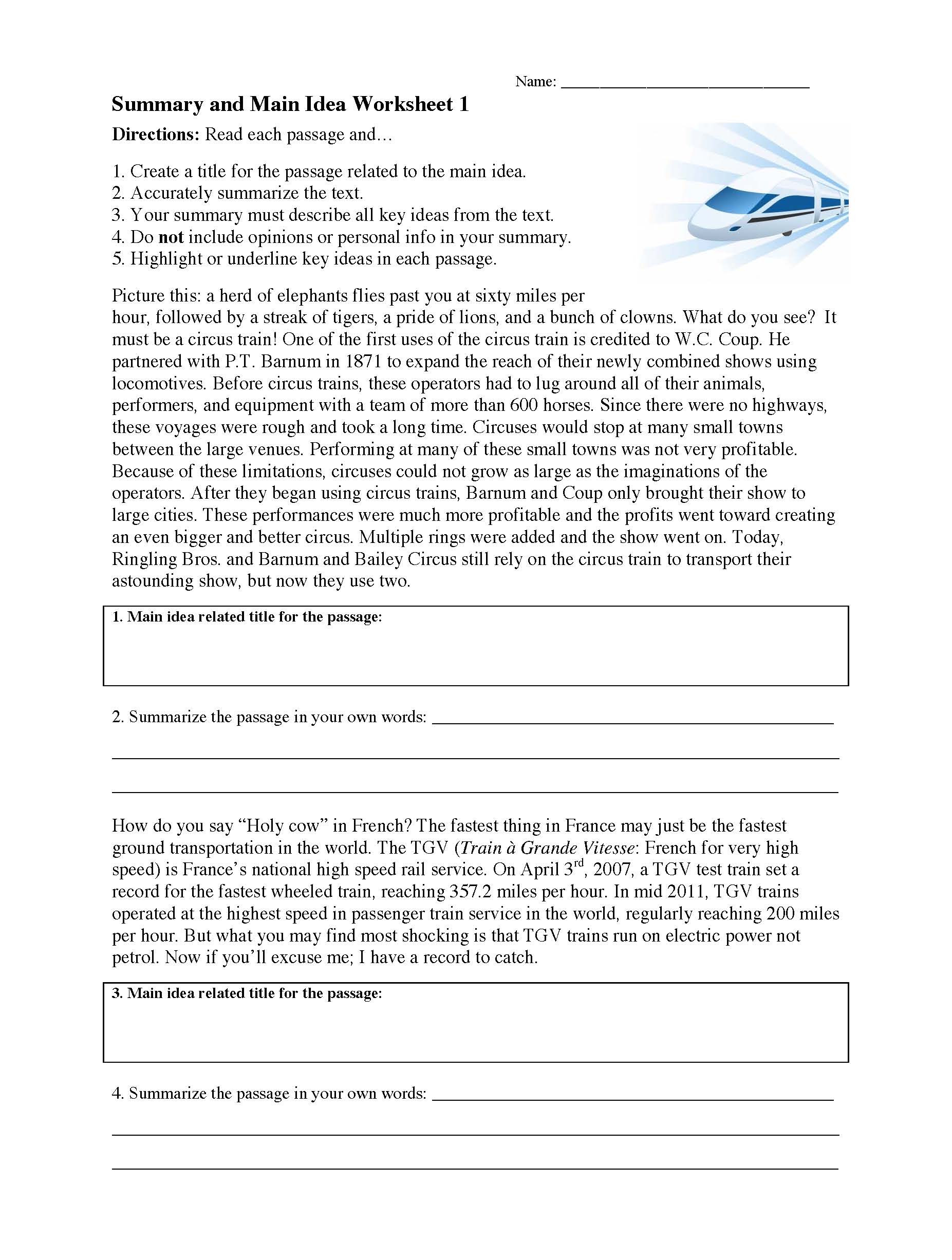 Summary And Main Idea Worksheet 1  Preview