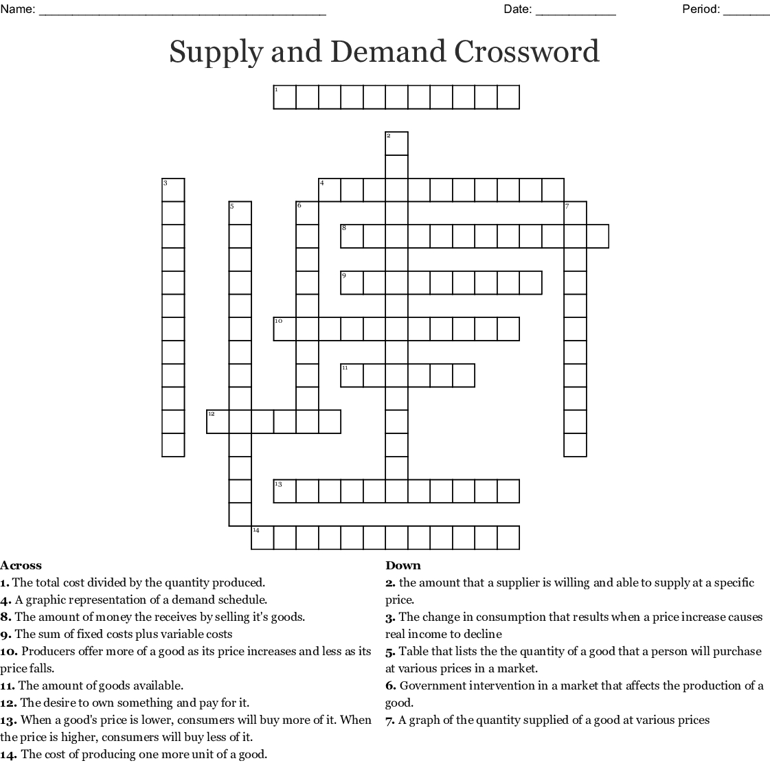 Supply And Demand Crossword Word — db-excel.com