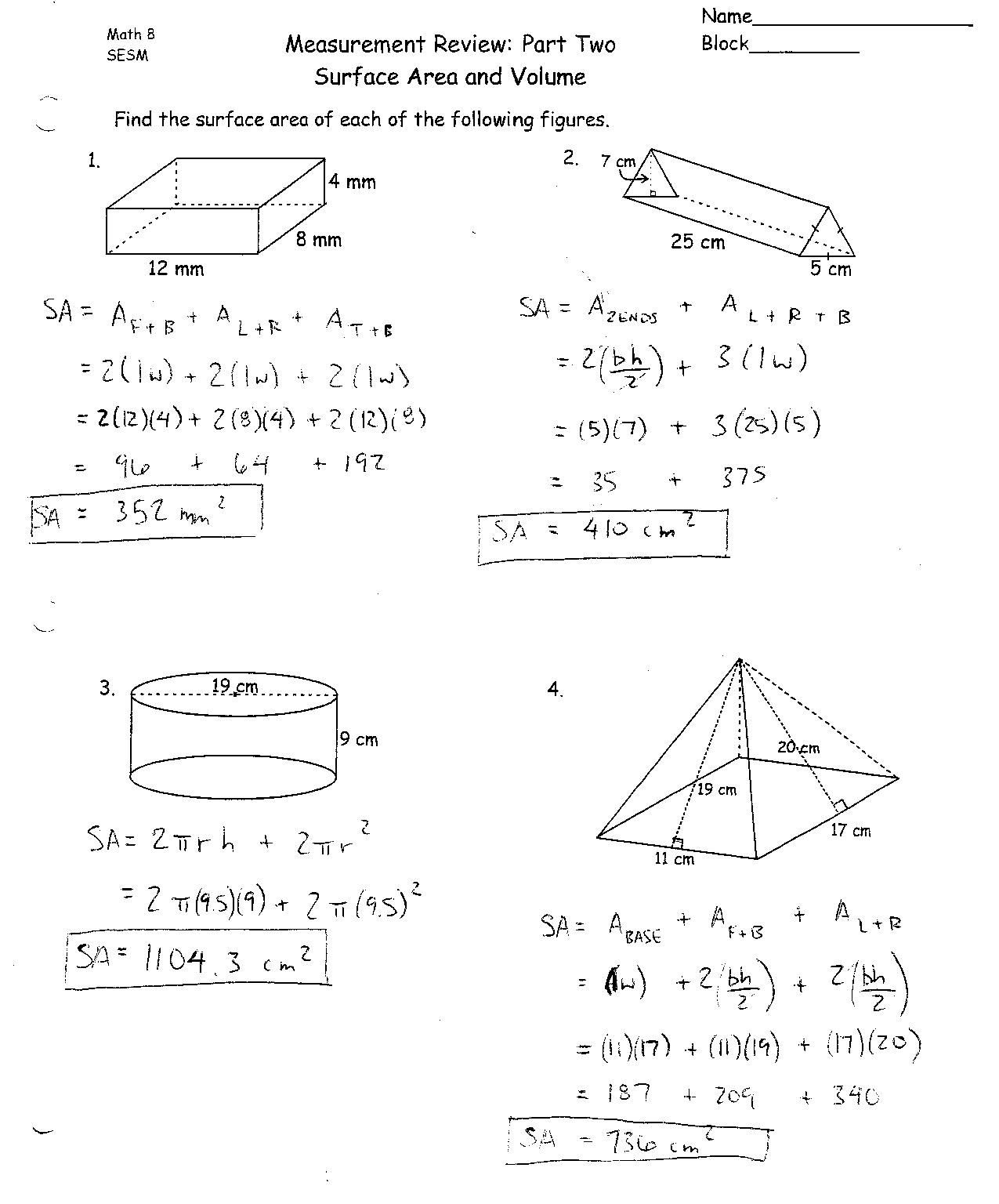 Surface Area And Volume Worksheets Grade 10   db excel.com