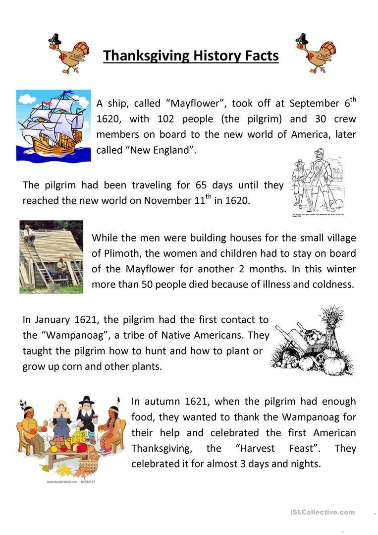 Teaching Thanksgiving History  English Esl Worksheets