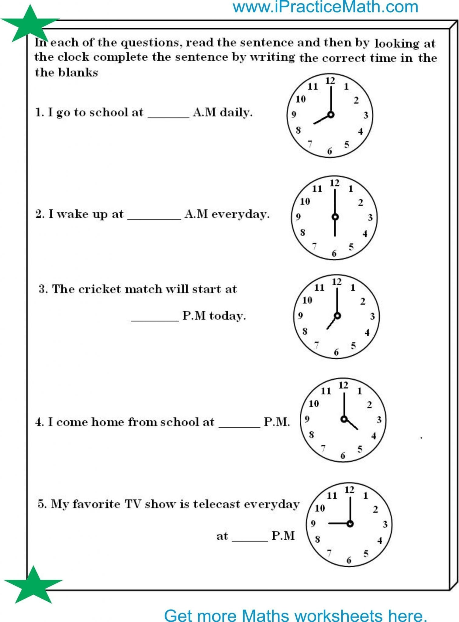 Telling Time Worksheets Using Am And Pm – Faithadventures