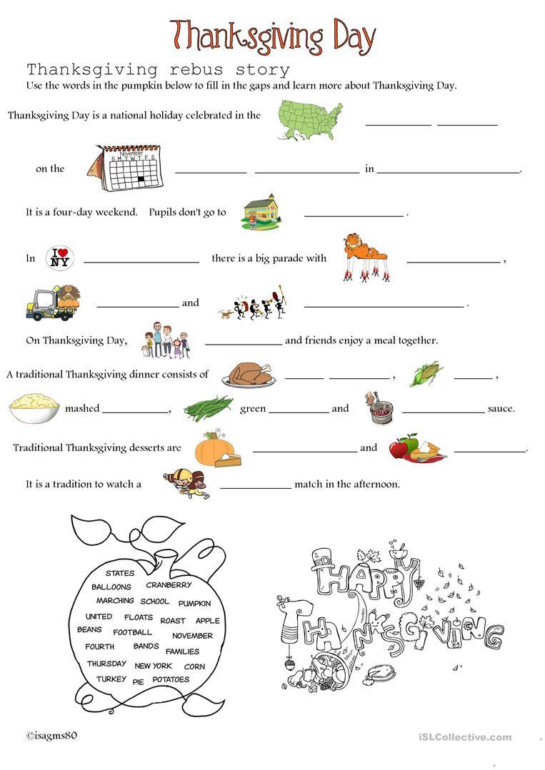 Thanksgiving Day  English Esl Worksheets