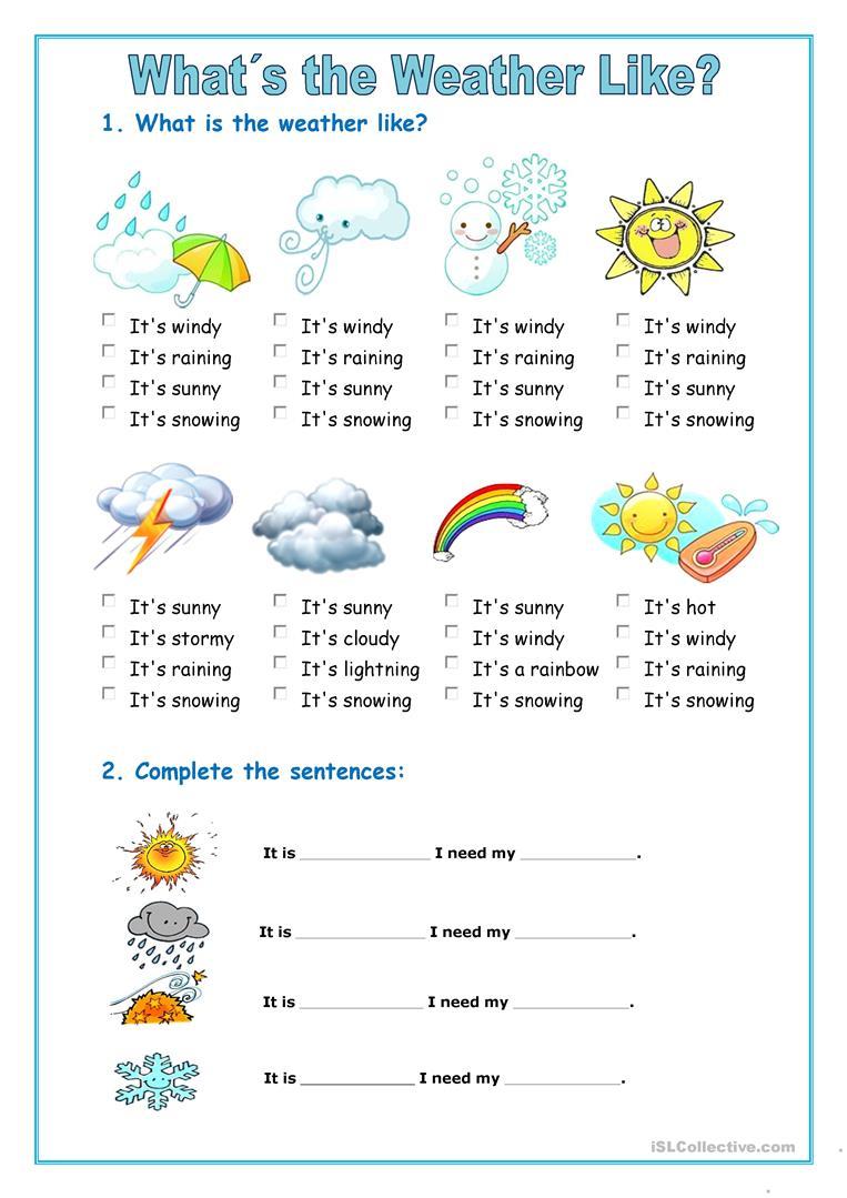 The Weather English Esl Worksheets — db excel.com