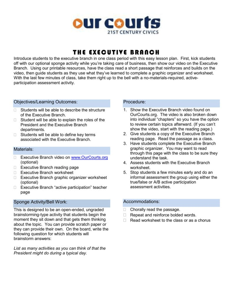 The Executive Branch Worksheet — db excel.com