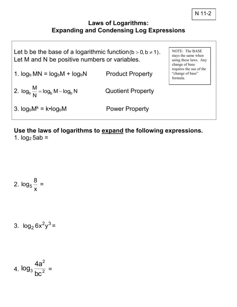 Expanding And Condensing Logarithms Worksheet — db excel.com