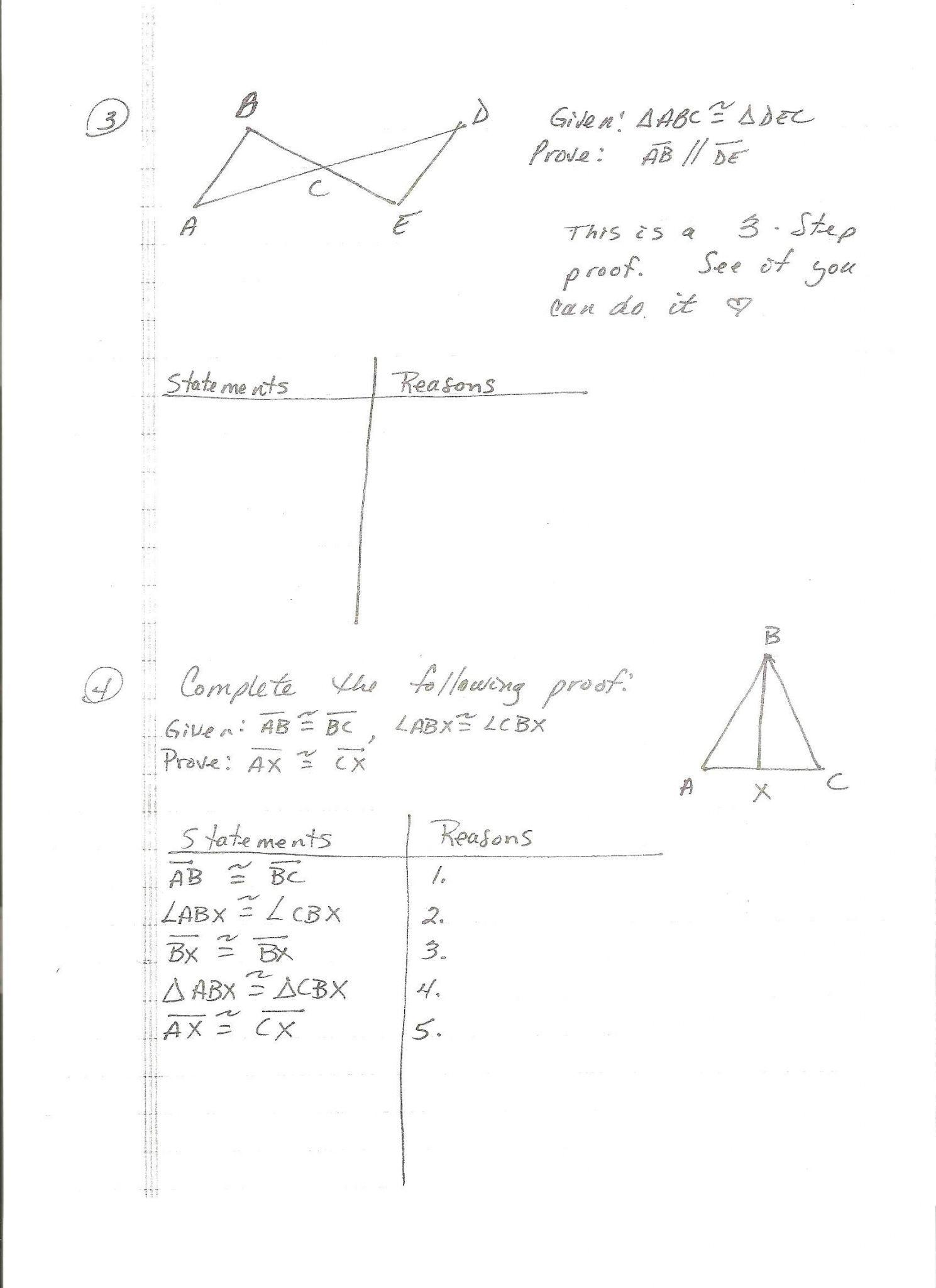 Triangle Congruence Worksheet 1 Answer Key
