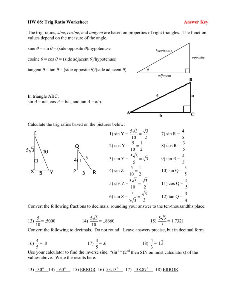Trigonometry Worksheets With Answers — db excel.com