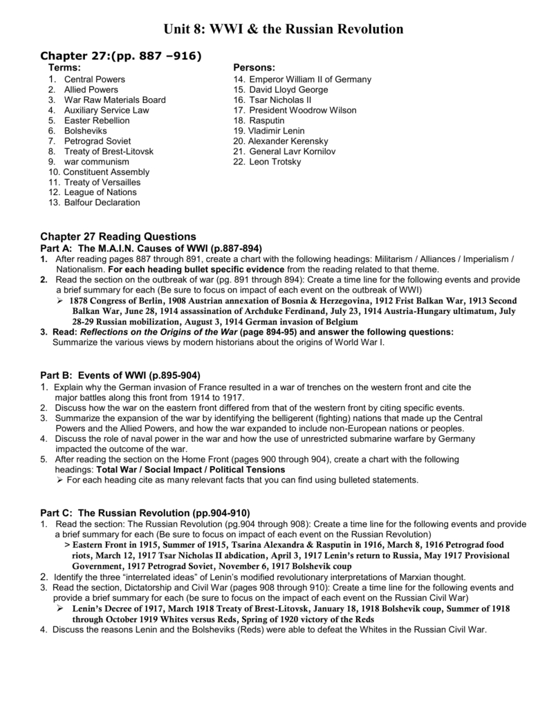The Russian Revolution Worksheet Answers — db excel.com