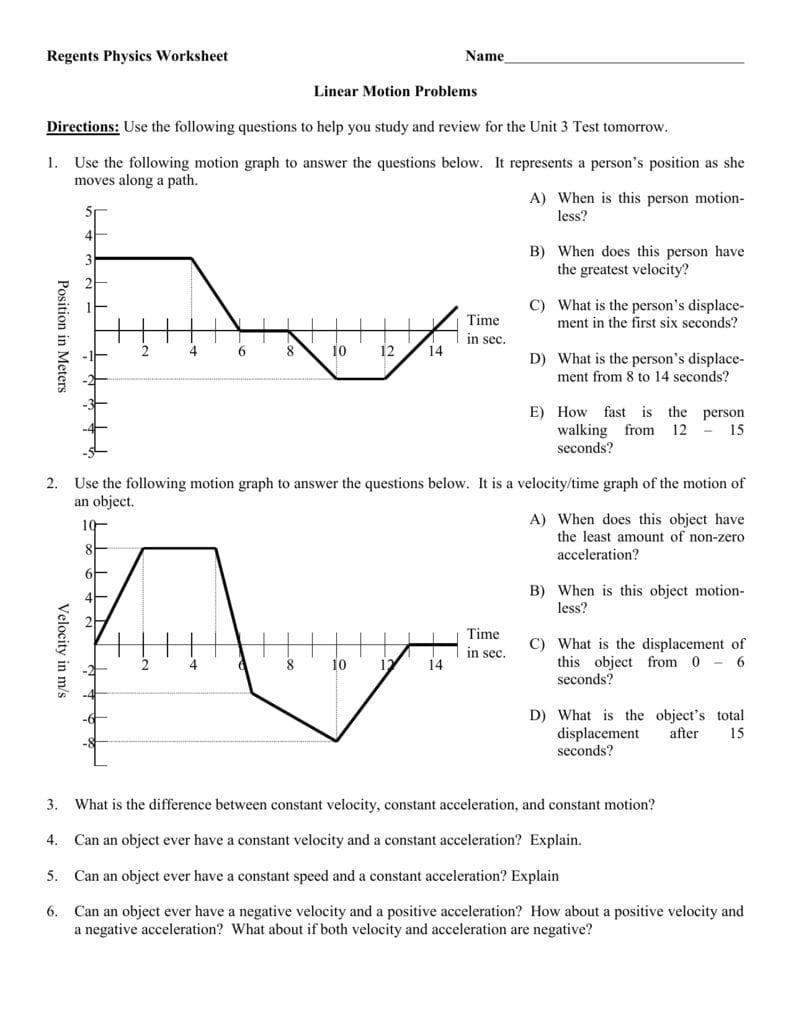 Kinematics Motion Graphs Worksheet Answers — db excel.com