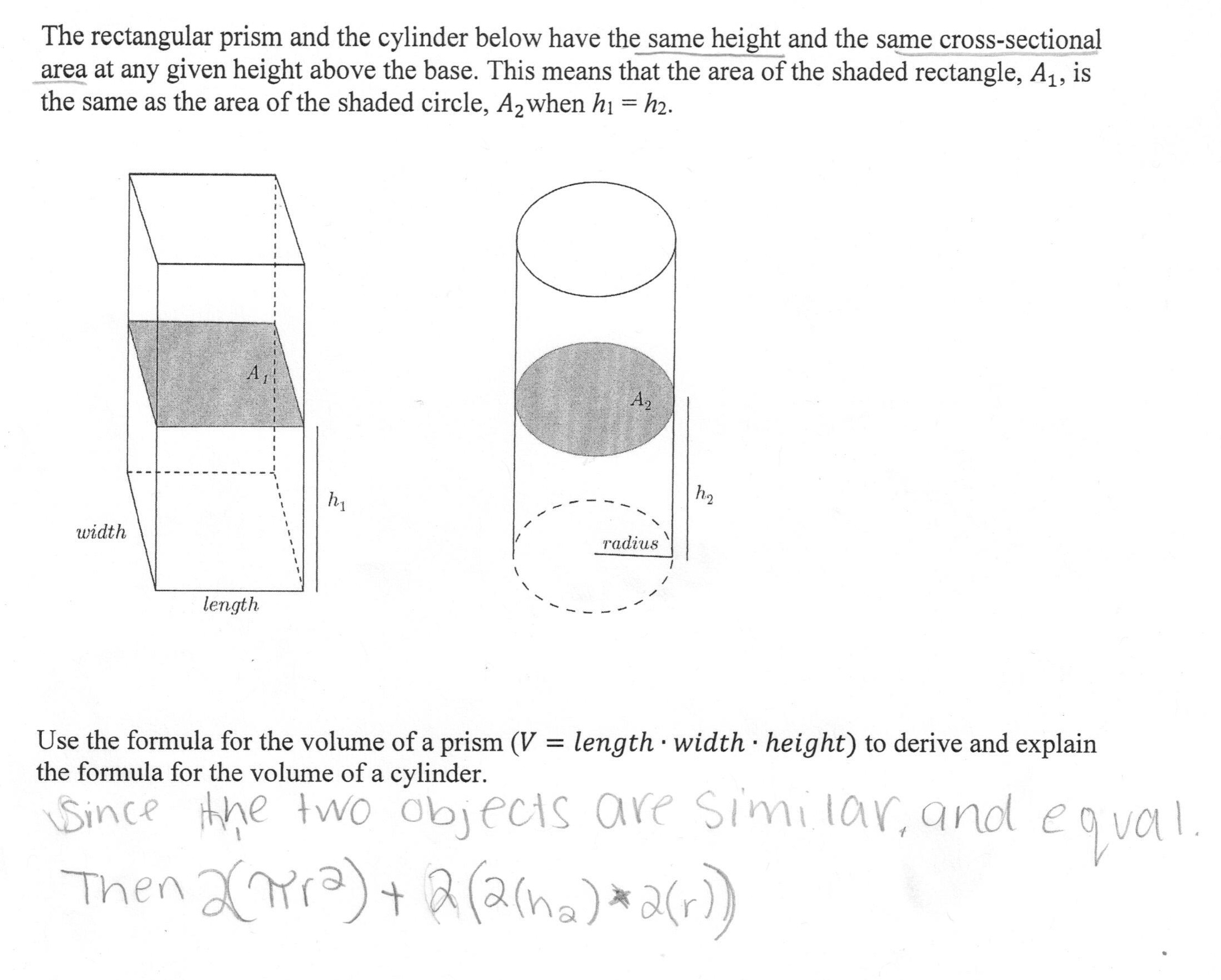 Volume Of A Cylinder Students Are Asked To Derive And Explain A