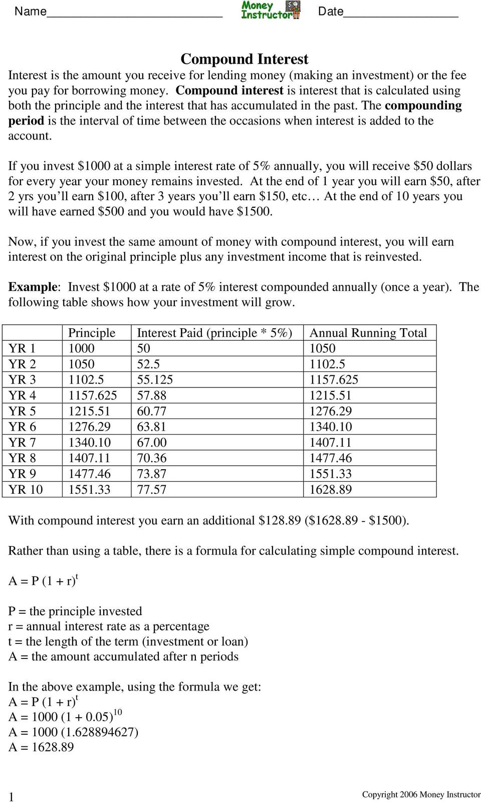 Continuous Compound Interest Worksheet With Answers — db ...