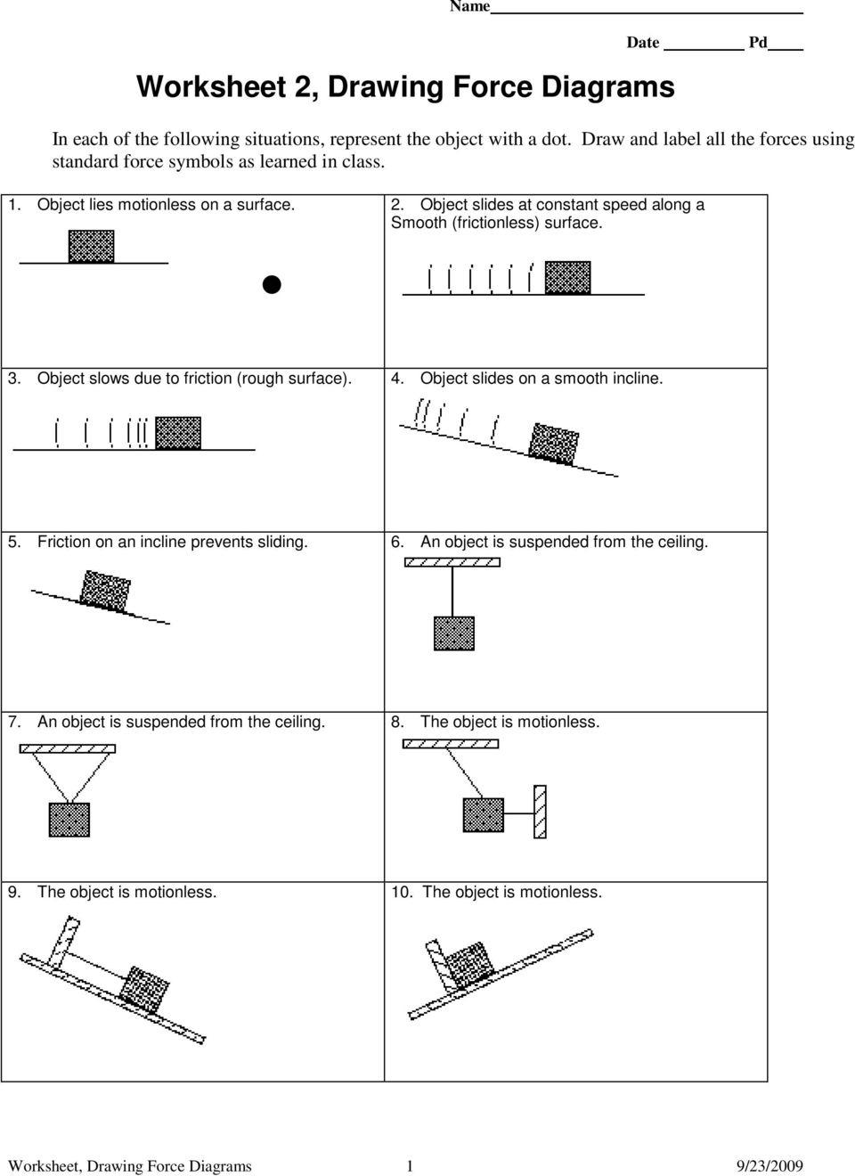 Worksheet 1 Free Body Or Force Diagrams Pdf