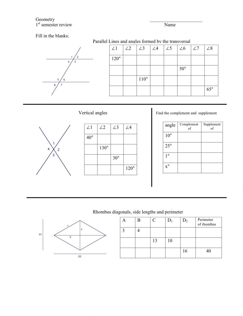 Angle Relationships Worksheet Answers | db-excel.com