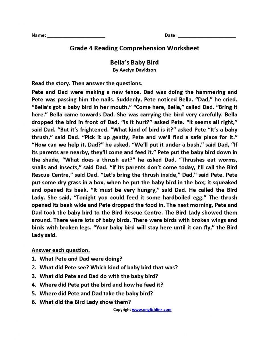 Reading Comprehension Worksheets For Grade 3 Pdf | db ...