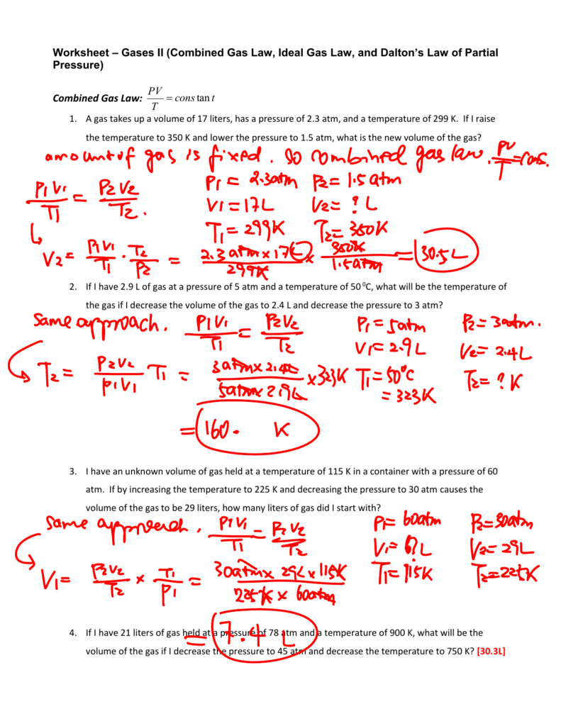 Combined Gas Law Worksheet Answer Key | db-excel.com
