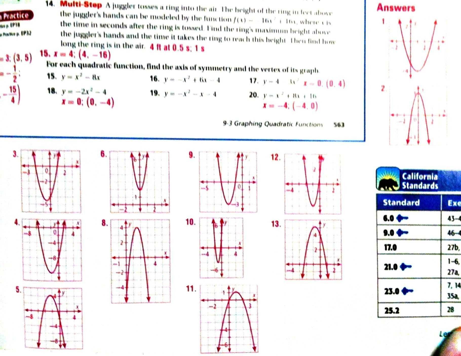 Graphing Quadratic Functions Worksheet Answers Algebra 2 ...
