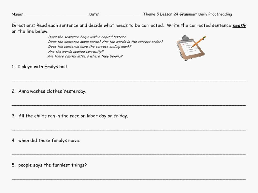Worksheet Ideas 6Th Grade Editing Practice Revising — db ...