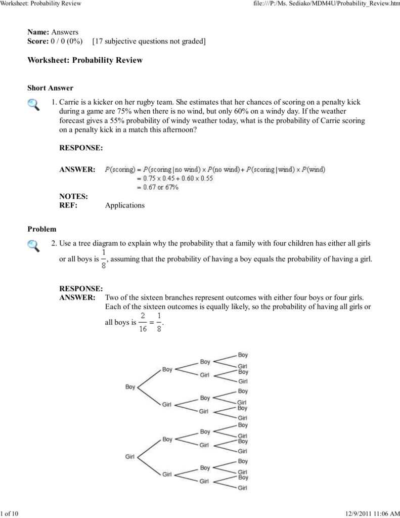 Worksheet Probability Review
