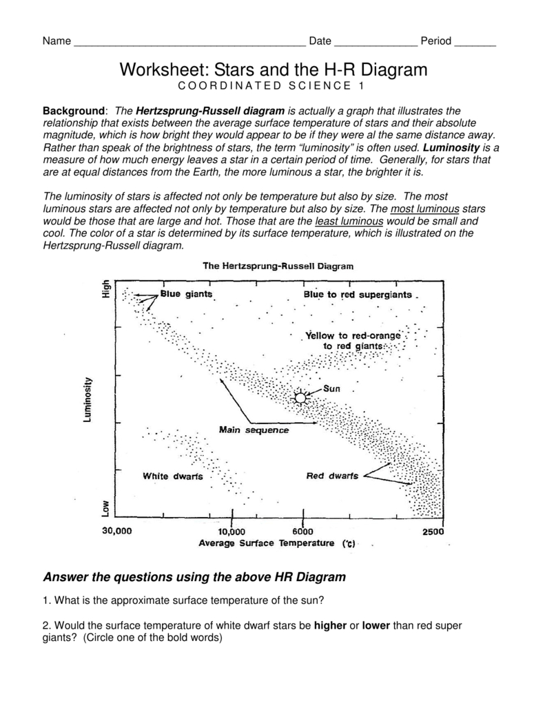 Hr Diagram Worksheet Answer Key | db-excel.com