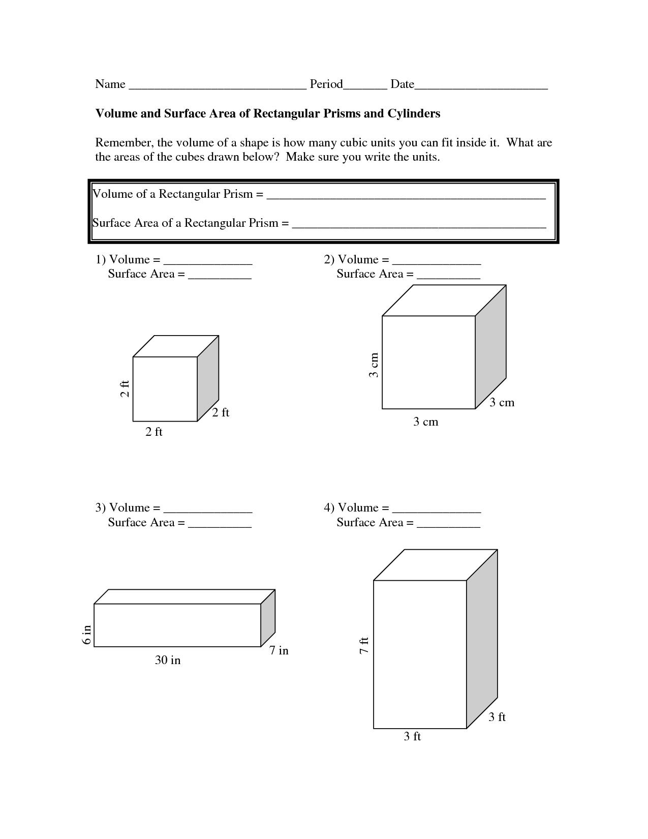 Worksheet Volume Of Cylinder Worksheet Volume And Surface Area